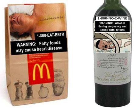 Sachet de restauration rapide et bouteille de vin