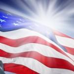 Soleil et drapeau américain